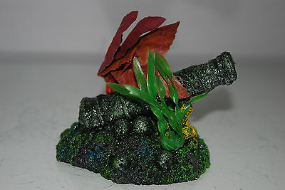 Aquarium Old Rustic Canon on Rock Base with Plants 14 x 9 x 9 cms