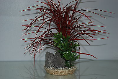 Aquarium Red & Green Grass and Rocks 11 x 11 x 30 cms Suitable For All Aquariums 2