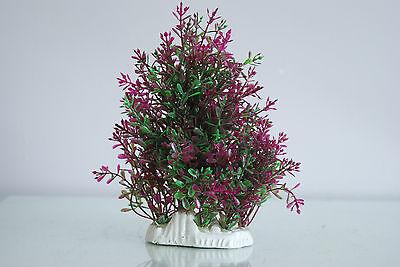 Aquarium Realistic Medium Plastic Plant Purple & Green Bush Plant  9x4x19 cms 3