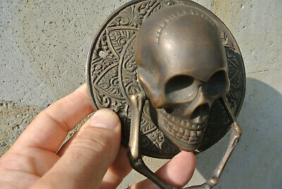 "SKULL handle KNOCKER PULL solid BRASS aged old style DOOR amazing 5"" B 7"