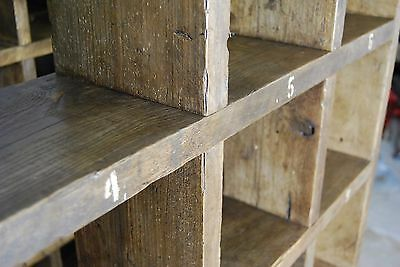 Pigeon holes BOOKCASE 1 col + 3 col industrial rustic salvage wood gplanera 9