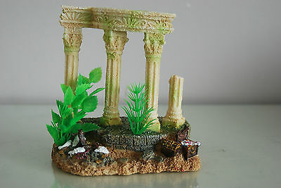 Medium Old Roman Greek Temple Ruin Columns Decoration & Plants 15 x 11 x 15 cms 5