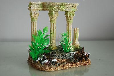 Medium Old Roman Greek Temple Ruin Columns Decoration & Plants 15 x 11 x 15 cms 6