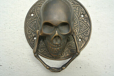 "SKULL handle KNOCKER PULL solid BRASS aged old style DOOR amazing 5"" B 2"