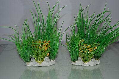 Aquarium 2 x Yellow & Green Plants 9 x 4 x 15 cms Suitable For All Aquariums 3