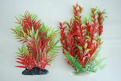Aquarium Plants x 2 Approx 25cms High Red & Green Suitable for all Aquariums 4
