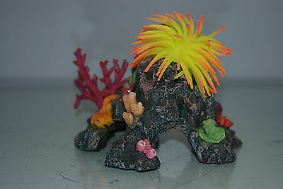 Aquarium Coral with Yellow & Orange  Anemone On Coral Rock 16 x 10 x 12 cms 4