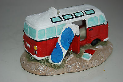 Aquarium Old VW Camper Van Red Decoration 15.5 x 9.5 x 8 cms 6