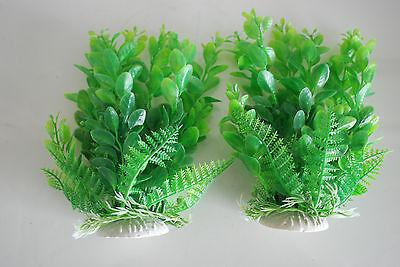 Aquarium 2 x Green Plastic Plants Approx 16cm High Suitable for All Aquariums 2