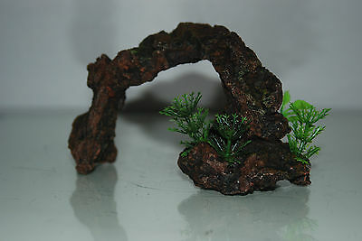 Aquarium Small Rock Arch & Plants 16x5.5x9.5 cms Dark Sand For All Aquariums 2