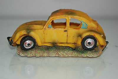 VW Yellow Beetle Small Old Rustic Car Decoration 14.5 x 6x6.5 For All Aquariums 2