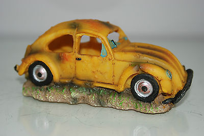VW Yellow Beetle Small Old Rustic Car Decoration 14.5 x 6x6.5 For All Aquariums 6
