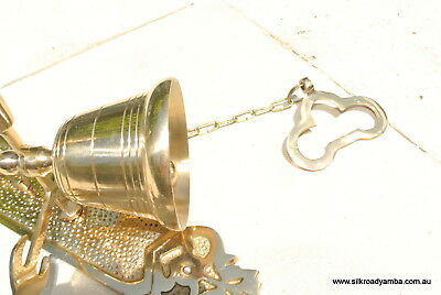 Front Door Bell pull chain heay brass POLISHED vintage style 26cm screw outdoorB 3