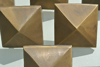 "10 Door studs decoration square  corner vintage solid brass heavy  2"" B 3"
