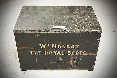 SET OF 2 Antique Early 20th Century Military Royal Scots Wooden Chest Trunk 2