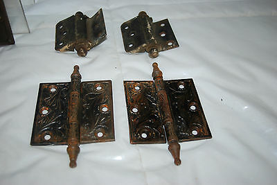 "Antique Cast Iron Assorted Size Hinges & 3.5"" Brass Hinges 10"