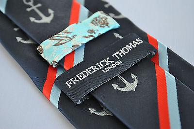 Frederick Thomas Designer Mens Tie - Dark Navy Blue - Striped Nautical Anchor 2