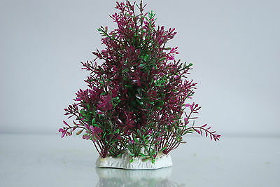 Aquarium Realistic Medium Plastic Plant Purple & Green Bush Plant  9x4x19 cms 4