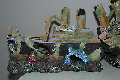 Aquarium Large Rustic Sucken Titanic Liner in Two Parts  55 x 14 x 22 cms 2