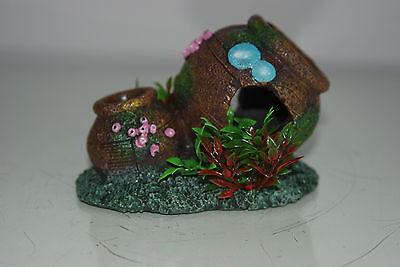 Aquarium Old Rustic Pot & Plants Decoration 12.5 x 8.5 x 9 cms 3