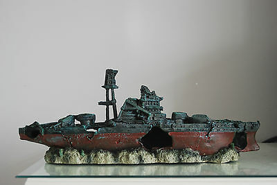 Aquarium Large Battle Ship Destroyer & Rock Base For Aquariums 46 x 11 x 17 cms 2