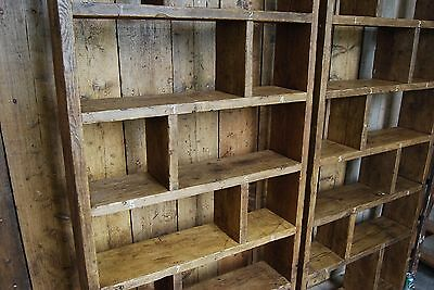 Pigeon holes ZIG ZAG industrial rustic bookcase wood factory salvage gplanera 4