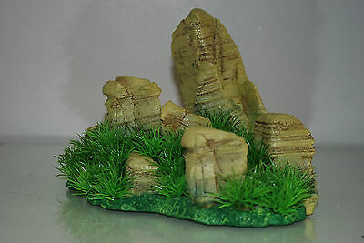 Aquarium Realistic  Large Rock Formation  with Grass Theme 24 x 20 x 18 cms 5