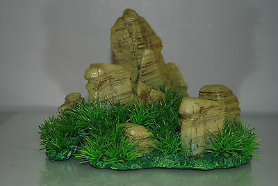 Aquarium Realistic  Large Rock Formation  with Grass Theme 24 x 20 x 18 cms 6