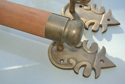 "2 large DOOR handle pull solid brass ends wooden old vintage asian style 15"" B 6"