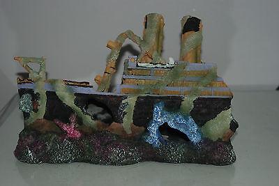 Aquarium Large Rustic Sucken Titanic Liner in Two Parts  55 x 14 x 22 cms 6