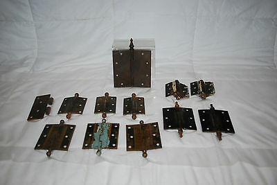 "Antique Cast Iron Assorted Size Hinges & 3.5"" Brass Hinges 5"