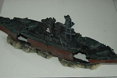 Aquarium Large Battle Ship Destroyer & Rock Base For Aquariums 46 x 11 x 17 cms 9