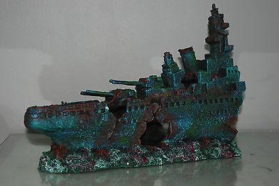 Aquarium Large Stunning Sunken Destroyer Two Part Battleship 68 x 14 x 26 cms 5