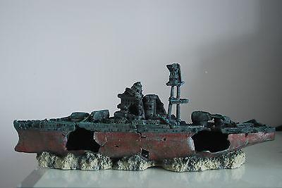Aquarium Large Battle Ship Destroyer & Rock Base For Aquariums 46 x 11 x 17 cms 6