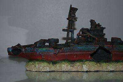 Aquarium Large Battle Ship Destroyer & Rock Base For Aquariums 46 x 10 x 17 cms 4
