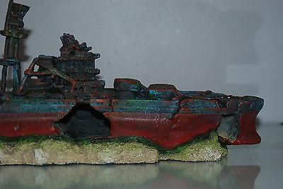 Aquarium Large Battle Ship Destroyer & Rock Base For Aquariums 46 x 10 x 17 cms 5