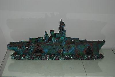 Aquarium Large Stunning Sunken Destroyer Two Part Battleship 68 x 14 x 26 cms 9