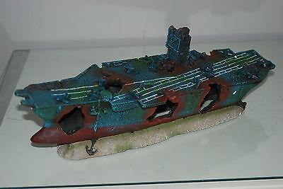 Aquarium Large Aircraft Carrier & Rock Base For Aquariums 38 x 9.5 x 12 cms 7