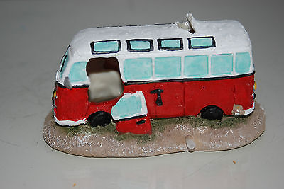 Aquarium Old VW Camper Van Red Decoration 15.5 x 9.5 x 8 cms 4