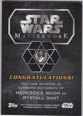 Star Wars 2016 Topps Masterwork Mercedes Ngoh As Rystall Sant