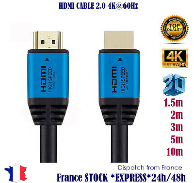 Premium Câble HDMI v2.0 0.5M/1M/1.5M/2M-10M HIGH SPEED 4K UltraHD 2160p 3D HDR 3