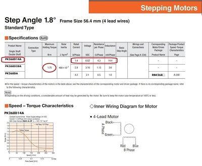 Stepping Motor Nema23 1.75Nm VEXTA PK268D14A Oriental Motor 1.8°/Step 6V 17.5KgF 3
