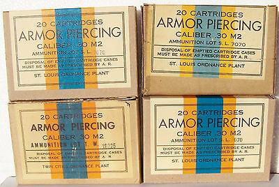 2 PCS LAKE CITY ORD .30 M2 ARMOR PIERCING WW2 NEW REPLICA 20 ROUND AMMO BOX