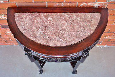 Late 18th / 19th C. Chinese Demi-Lune Marble Top DRAGON Table - YUEYAZHUO 5