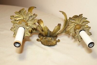 antique ornate dore bronze rococo wall mount electric candle holder fixture 8