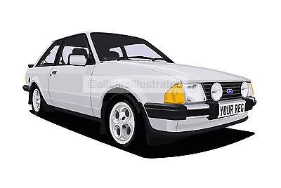 Personalise It Ford Escort Xr3i Mk4 Graphic Car Art Print Automobilia Vehicle Parts Accessories