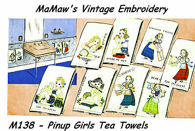 2ad1c90217b4cc ... M218 Pinup Girls tea towels DOW Embroidery HOT IRON ON Transfer pattern  3