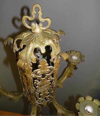 Ornate Heavy Brass Figural Knights Spanish Revival Gothic Tudor Chandelier Light 11