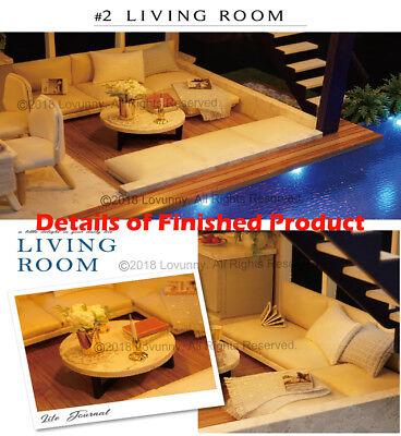 AU DIY LED Music Apartments Dollhouse Miniature Wooden Furniture Kit Doll House 7