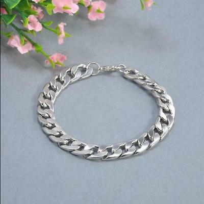 Silver Men's Stainless Steel Link Punk Chain Bracelet Wristband Bangle Jewelry 12